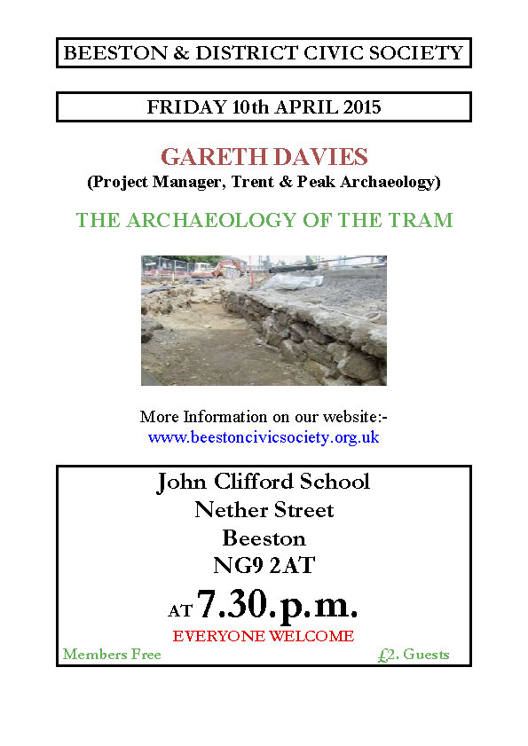 15th Apr 2015 Meeting – The Archaeology of the Tram