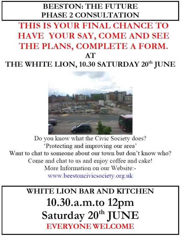 Phase 2 - Consultation. Final final session. White Lion this Sat 10.30am